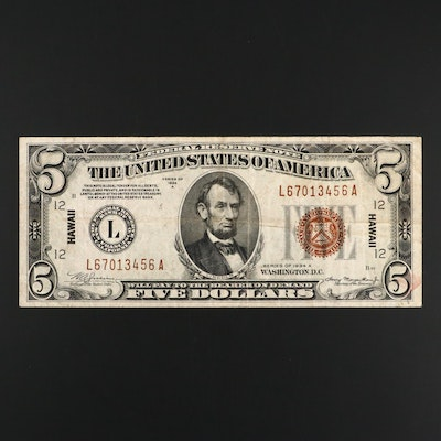 Series of 1934 A Brown Seal Hawaii $5 Federal Reserve Note