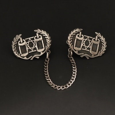 Sterling Silver Star of David and Torah Motif Sweater Clips