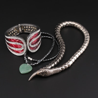 Necklaces and Clamper Cuff Bracelet with Aventurine and Snake Motif