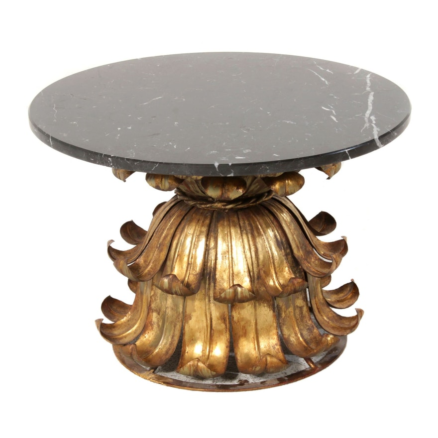 Gilt-Metal and Black Marble Side Table, Second Half of the 20th Century