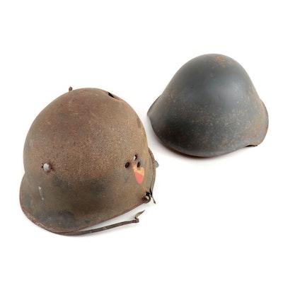 """East German """"M56/66"""" and Belgian """"M51"""" Military Helmets, Vintage"""