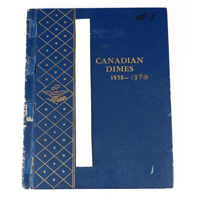 Eighty Two Canadian Dimes in Coin Folder With Dates Ranging from 1902 - 1978