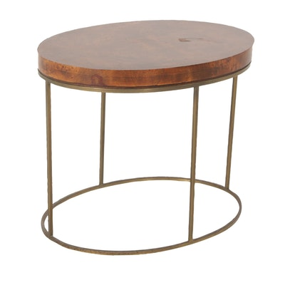 Brandt, Burlwood and Brass Framed Side Table, Late 20th Century