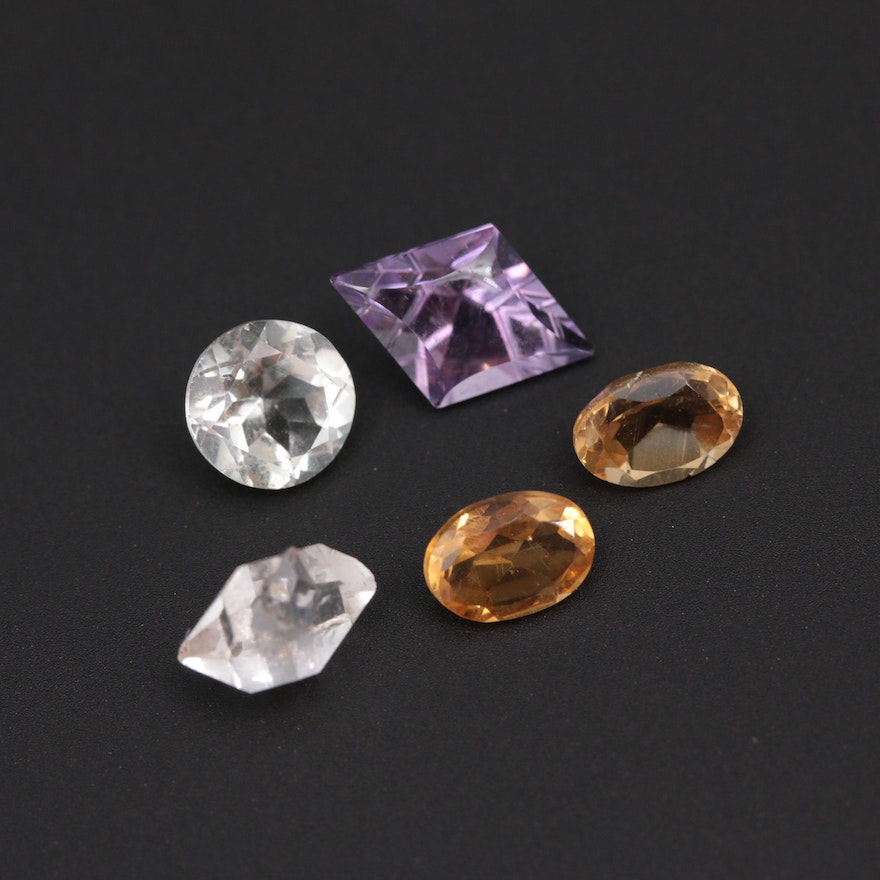 Loose 6.00 CTW Gemstone Assortment Including Citrine and Amethyst