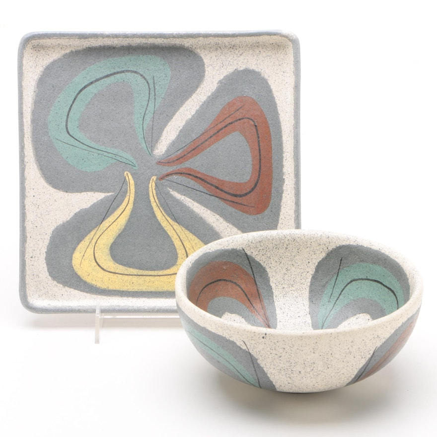 Mid Century Modern Californian Stoneware Serving Tray and Bowl