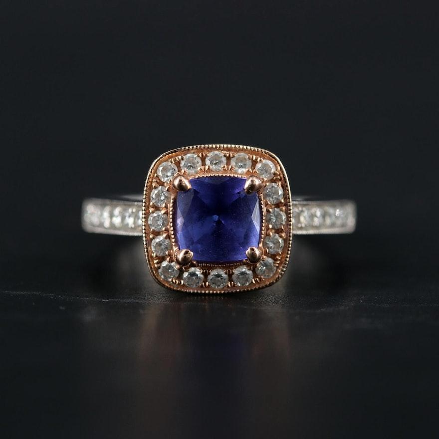 14K White and Rose Gold Tanzanite and Diamond Ring