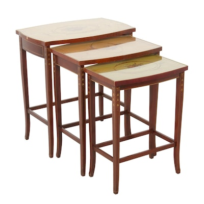 Three Paint-Decorated and Mahogany-Stained Graduated Side Tables