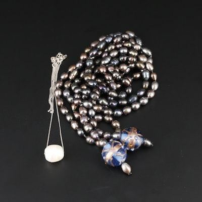 Sterling Silver Pearl Necklaces Including Lariat Necklace