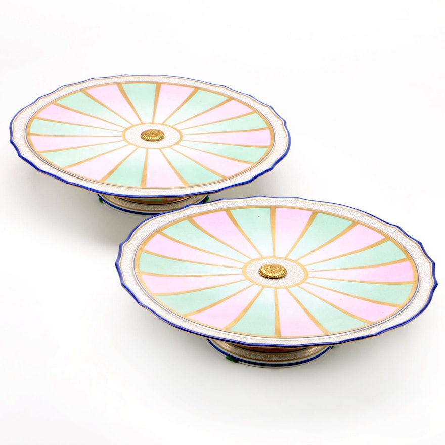 Pair of Meissen Porcelain Lazy Susan Cake Stands with Vermicelli Decoration