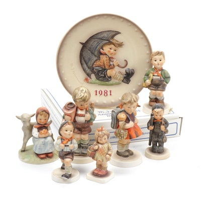 "Hummel ""School Girl"" and Other Porcelain Hummel Figurines and Collector Plate"