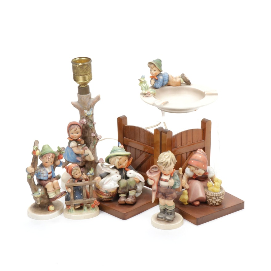 Goebel Hummel Ash Tray, Bookends, Lamp and Figurines