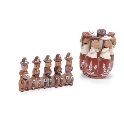 Quinua Pottery Peruvian Folk Art Musical Figurines, Mid-20th Century