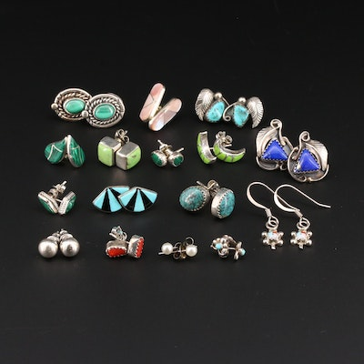 Sterling Silver Earring Selection Featuring Turqouise and Lapis Lazuli