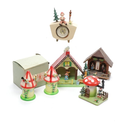 Steinbach and Other West German Made Clocks and Figurines, Mid-20th Century