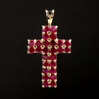 14K Yellow Gold Ruby Cross Pendant