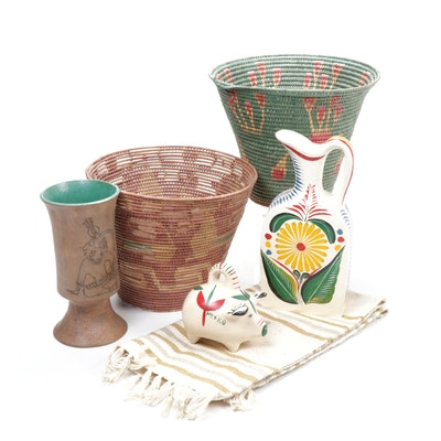 Mexican Baskets, Hand-Painted Pitcher and Handwoven Accent Rug