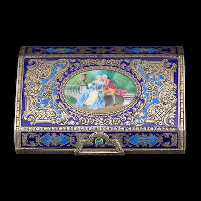 Italian Enameled 800 Silver Snuff Box with Courting Scene, Circa 1930