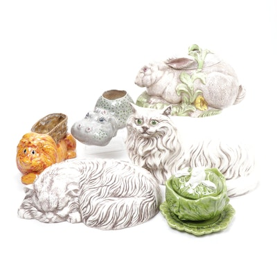 Holland Mold Cabbage Bowl and Other Ceramic Animal Vessels