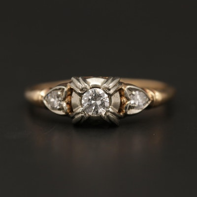 Vintage 14K Yellow Gold Diamond Ring with 18K White Gold Accents