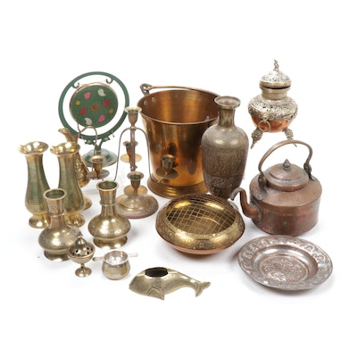 Indian Etched Brass and Copper Censers, Vases, and Ceremonial Items, 1970s