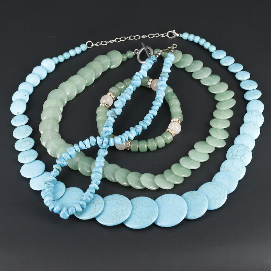 Southwestern Style Beaded Rose Quartz and Gemstone Necklaces and Bracelet