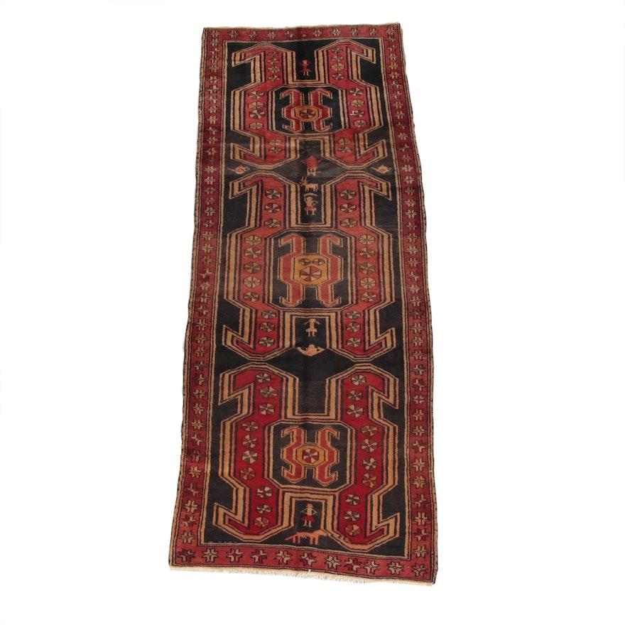 3'2 x 8'6 Hand-Knotted Persian Caucasion Lenkoran Wool Long Rug