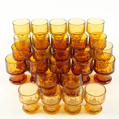 Molded Amber Glass Drinkware Including Libbey, Mid/Late 20th Century
