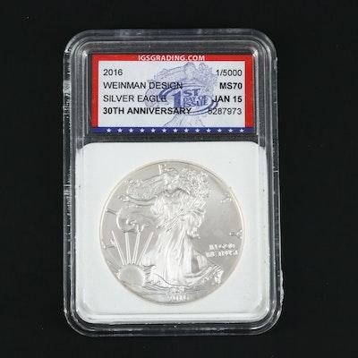 2016 Silver Eagle 30th Anniversary $1 U.S. Silver Eagle