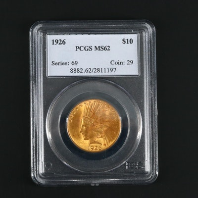 PCGS Graded MS62 1926 Indian Head $10 Gold Coin