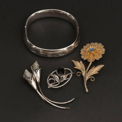 Vintage Bracelet and Brooches Featuring Stuart Nye