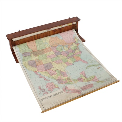 Oak Wall Mounted School Map Case with US and Ohio Maps, circa 1920