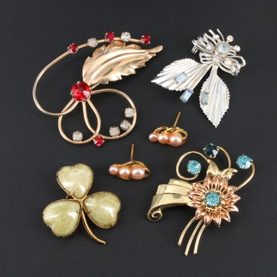 Vintage Brooches and Earrings With Glass and Pearl