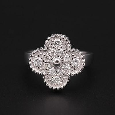 18K White Gold Diamond Quatrefoil Ring