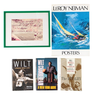 1983 Lendl-McEnroe Print with Wilt Chamberlain and Nieman Poster Books
