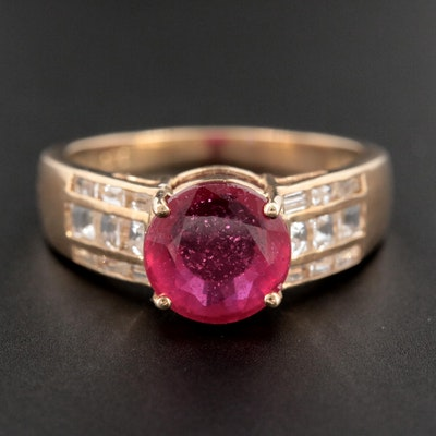 9K Yellow Gold Corundum Ring with Topaz Accented Shoulders