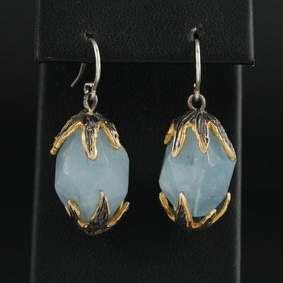 Sterling Silver Blue Beryl Drop Earrings