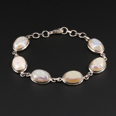 Sterling Silver Druzy Quartz Link Bracelet