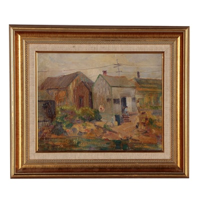 "Aldro Hibbard Oil Painting ""Shanty Town"""
