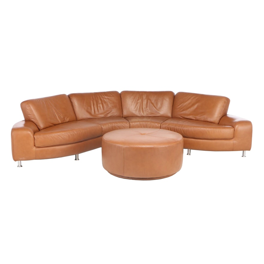 W. Schillig Curvilinear Leather Sectional Sofa and Ottoman from Bova