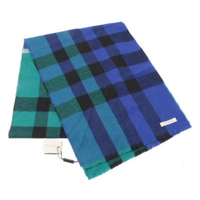 Burberry Blue Color Block Check Wool Shawl