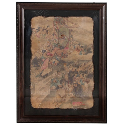 Chinese Fresco Wall Section, 20th Century