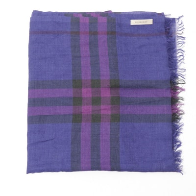 Burberry Virgin Wool and Silk Blend Purple Check Scarf
