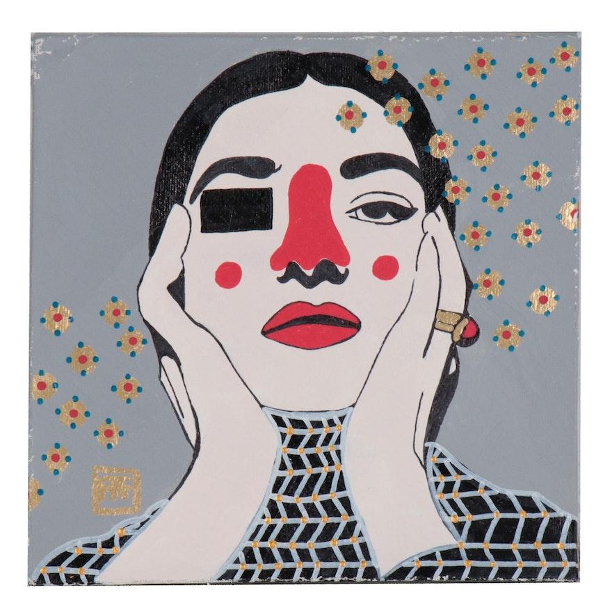 """Francois Aguiard Acrylic Painting """"Maria Callas"""""""