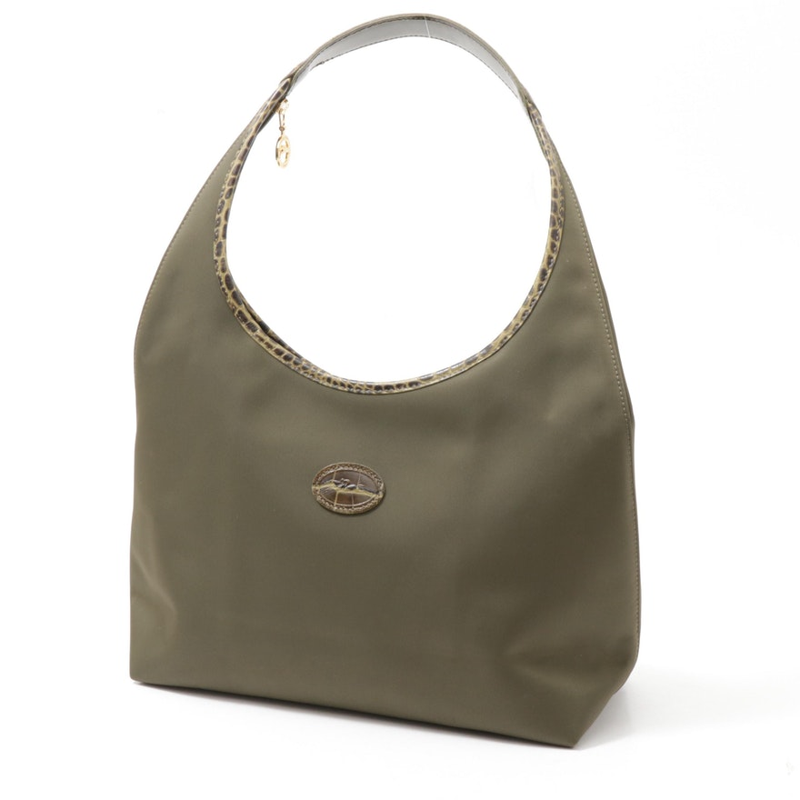 Longchamp Canvas Hobo Bag with Embossed Leather Trim