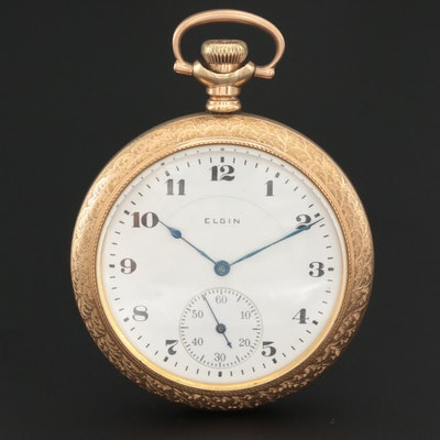 Antique Elgin Gold Filled Open Face Pocket Watch, 1918