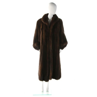 Fisher Sable Fur Full-Length Coat with Shawl Collar