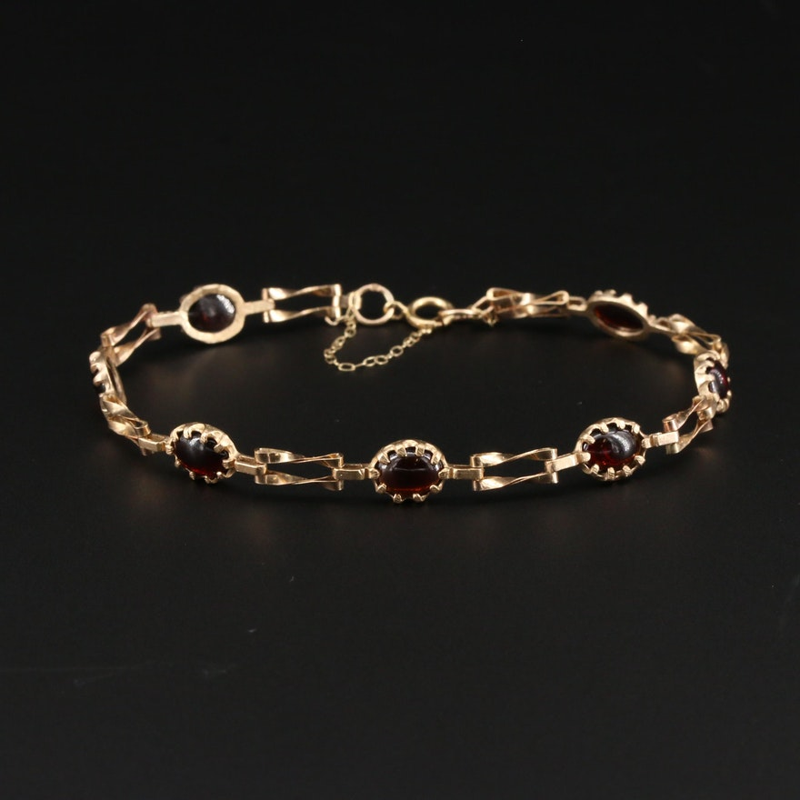 Vintage 9K Yellow Gold Garnet Bracelet