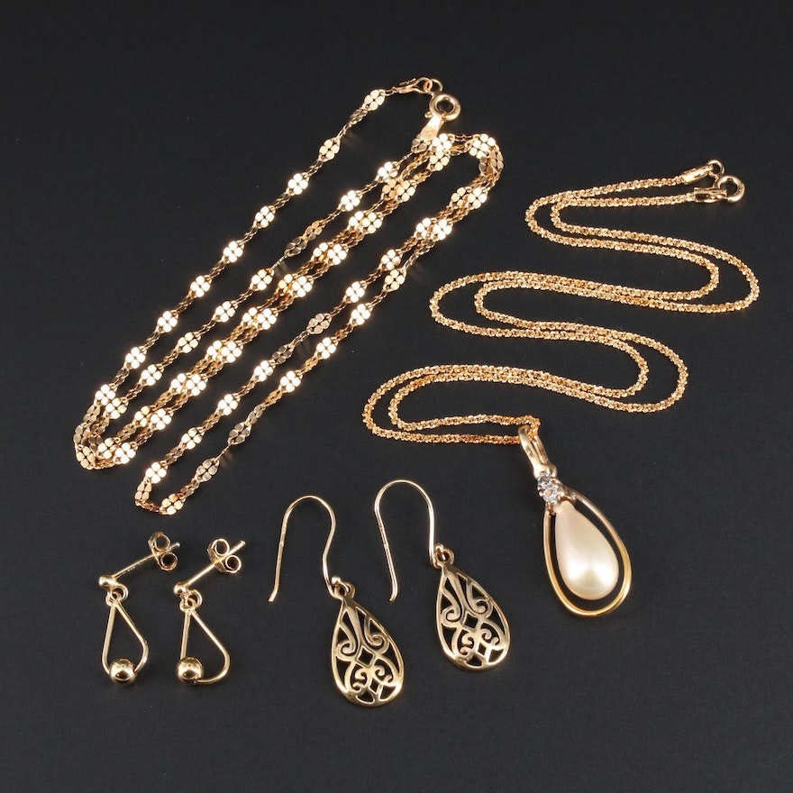 Sterling Silver Necklaces and Earrings With Cultured Pearl and Glass