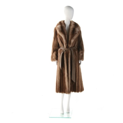 Stone Marten Sable Fur Wrap Coat with Leather Sash Belt, Vintage