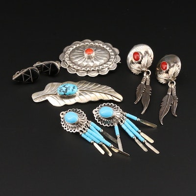 Southwestern Style Sterling Coral and Turquoise Earrings and Brooches
